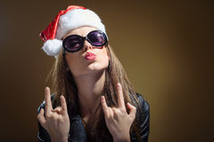 Closeup portrait of amazing Santa woman with leather jacket Stock Photos