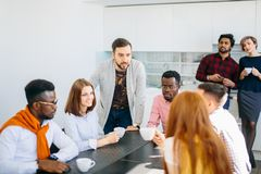 Closeup portrait of ambitious group of business People chatting together royalty free stock photography