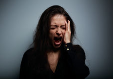 Closeup portrait of angry, sad and desperate shouting woman Royalty Free Stock Photography