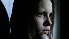 Closeup portrait of an angry teen girl. 4K UHD stock video