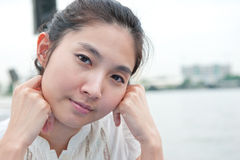 Closeup portrait of Asian beautiful girl face. Expression of hap Royalty Free Stock Photo