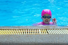 Closeup portrait Asian girl with swimming suite and eyeglasses in the pool. Closeup Asian girl with swimming suite and eyeglasses in the pool stock photography