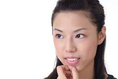 Closeup portrait of Asian lady Stock Photo