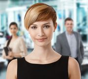 Closeup portrait of attractive businesswoman royalty free stock images