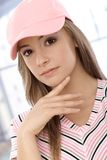 Closeup portrait of attractive casual girl Stock Images