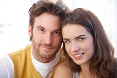 Closeup portrait of attractive couple smiling Stock Image