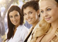 Closeup portrait of attractive females Stock Image