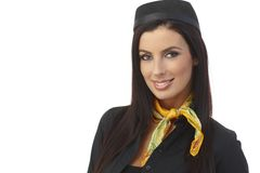 Closeup portrait of attractive flight attendant Royalty Free Stock Image