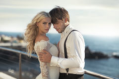 Closeup portrait of the attractive newlyweds royalty free stock images
