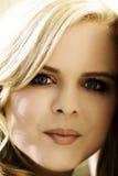 Closeup Portrait Attractive Plump Blond Caucasian Woman Outdoors Royalty Free Stock Photos