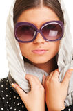 Closeup portrait of attractive woman in sunglasses Stock Photography