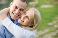 Closeup portrait of attractive young couple. Royalty Free Stock Image