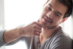 Closeup portrait of attractive young man. Royalty Free Stock Photos