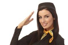 Closeup portrait of attractive flight attendant Stock Photos