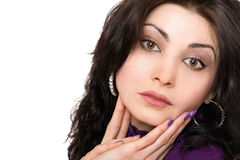 Closeup portrait of attractive young woman in a purple jacket. Isolated Royalty Free Stock Photography