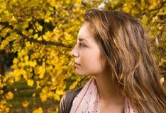 Closeup portrait of autumn fashion girl. Stock Photo