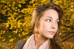 Closeup portrait of autumn fashion girl. Royalty Free Stock Images