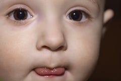 Closeup portrait of baby boy`s face stock images