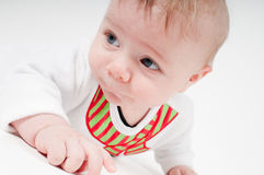 Closeup portrait of baby boy in snowman costume Stock Photo