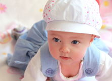 Closeup portrait of baby in cap Stock Photography