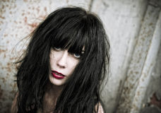 Closeup portrait of beautiful bad goth girl Royalty Free Stock Image