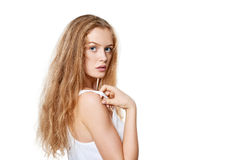 Closeup portrait of beautiful blond woman Royalty Free Stock Photos