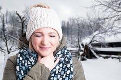 Closeup portrait of beautiful blonde having sore throat Stock Photo