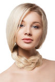 Closeup portrain of woman with braid on her neck. Closeup portrait of a beautiful blonde young woman with braid on her neck, isolated Stock Photos