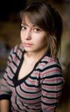 Closeup portrait of beautiful brunette. Stock Photography
