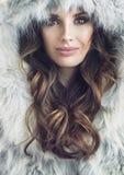 Closeup portrait of a beautiful brunette woman. Closeup portrait of a beautiful brunette lady Stock Photos
