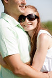 Closeup Portrait Of A beautiful Couple Hugging. Closeup Portrait Of A Cute Couple Hugging , Focus On Female royalty free stock photos
