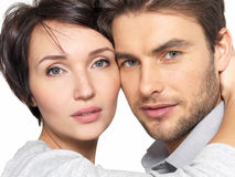 Closeup portrait of beautiful couple - isolated Stock Photography