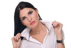 Closeup portrait of beautiful fashion woman Stock Photography