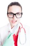 Closeup portrait of beautiful female medic Stock Images