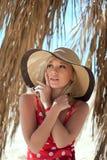 Closeup portrait of beautiful female model stock photography