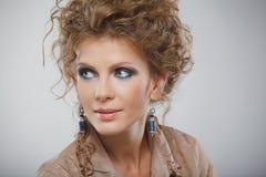 Closeup portrait of beautiful girl with makeup Stock Photography