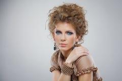 Closeup portrait of beautiful girl with makeup Stock Image