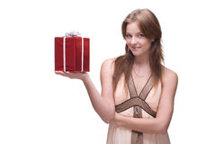 Closeup portrait of beautiful girl with some gifts Stock Images