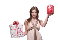 Closeup portrait of beautiful girl with some gifts Stock Photography