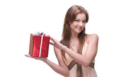 Closeup portrait of beautiful girl with some gifts Royalty Free Stock Photography