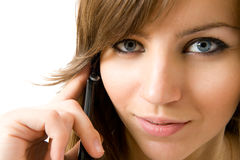 Closeup portrait of beautiful girl with telephone Royalty Free Stock Photo