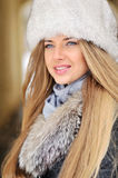 Closeup portrait of a beautiful girl in winter Stock Photo