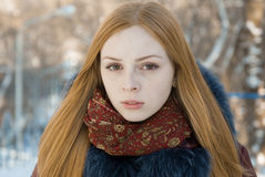 Closeup portrait of beautiful girl in winter Stock Photography
