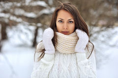 Closeup portrait of a beautiful girl in a winter park Royalty Free Stock Photography