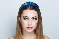 Woman blue make up royalty free stock photo