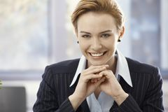 Closeup portrait of beautiful happy businesswoman Royalty Free Stock Photography