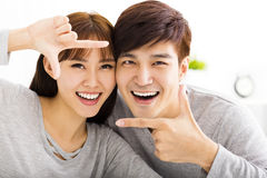 Closeup portrait of beautiful happy couple stock photography