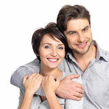 Closeup portrait of beautiful  happy couple - isolated Stock Images