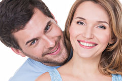 Closeup portrait of beautiful happy couple. Royalty Free Stock Photo