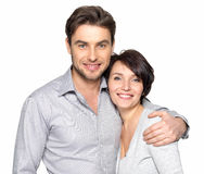 Closeup portrait of beautiful happy couple - isolated. Closeup portrait of beautiful happy couple isolated on white background. Attractive men and women being stock photography